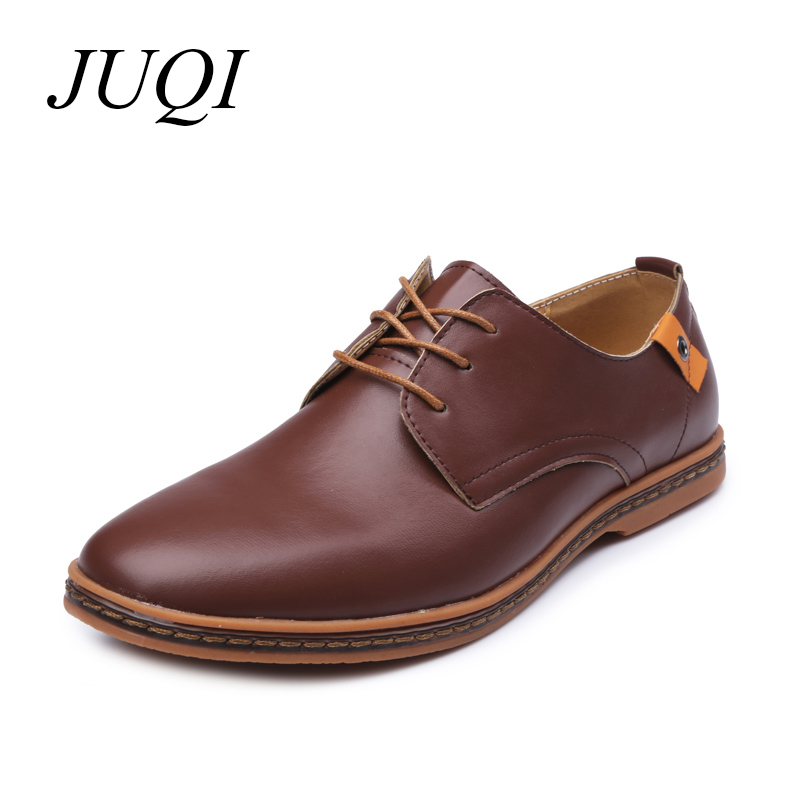 JUQI 2019 Men Casual Shoes PU Leather Lace-up Plus Size 38-48 Flats With Oxfords Comfortable Dress