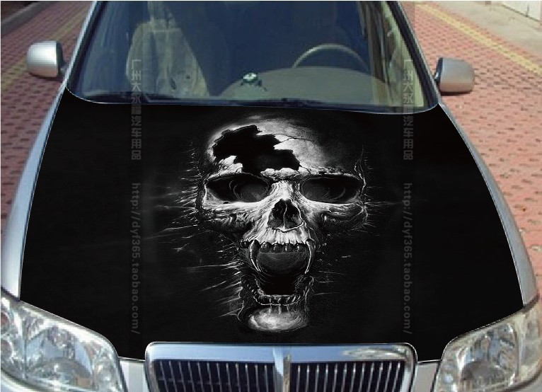 Graphics For Skull Car Hood Vinyl Graphics Wwwgraphicsbuzzcom - Custom vinyl decals for car hoodssoldier full color graphics adhesive vinyl sticker fit any car