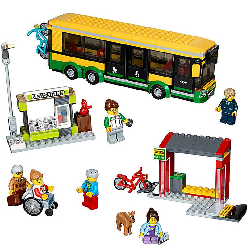 LEPIN 02078 City Series Bus Station 60154 Public Transport Building Blocks 377pcs Bricks Toys Gift For Children 1712 city swat series military fighter policeman building bricks compatible lepin city toys for children