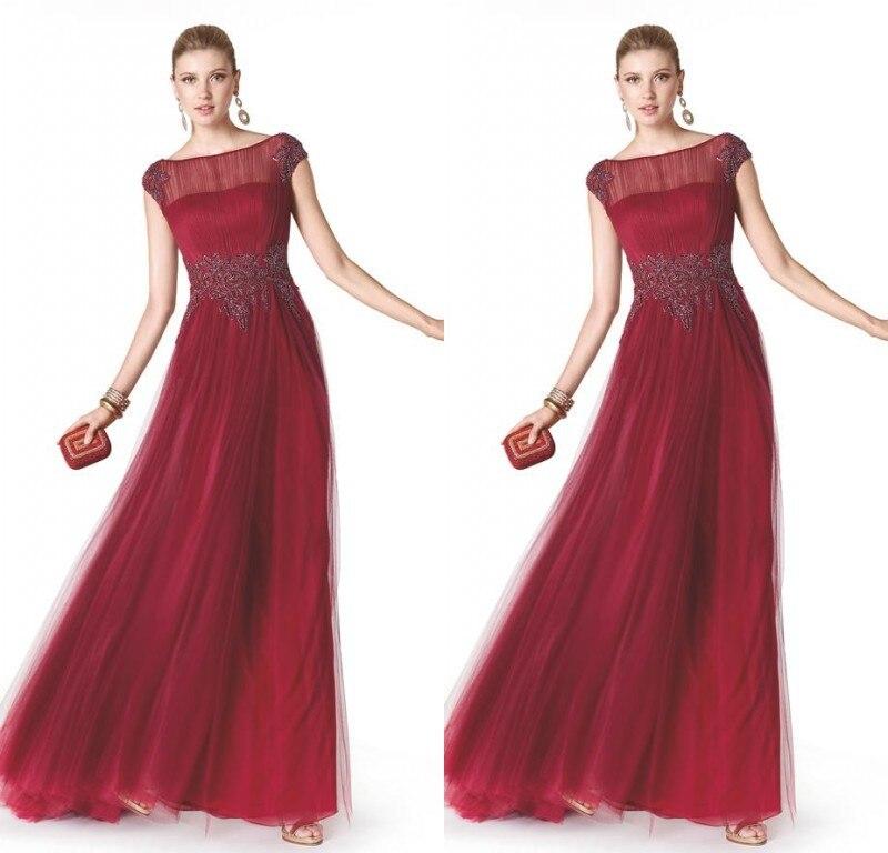 Elegant Fashion Mother Groom Evening Dress Wine Red Formal