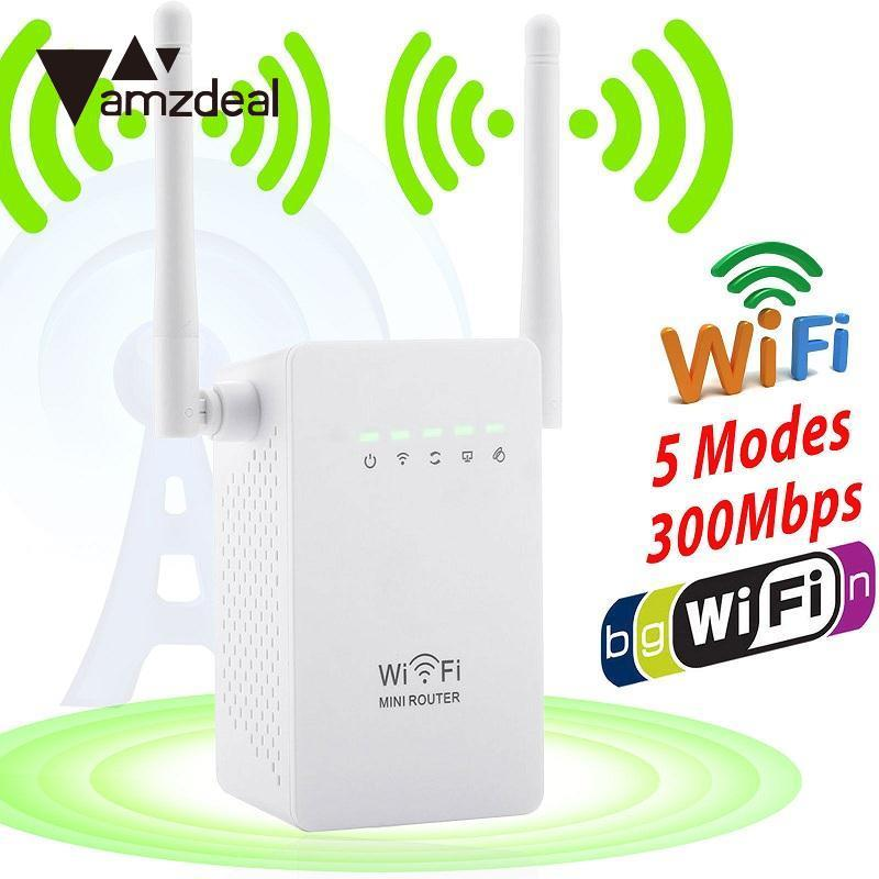 amzdeal 300Mbps Wireless Extender WiFi Signal Booster Network Router EU Plug White AP client Repeaters WISP operation mode