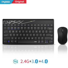 Rapoo Multi mode Silent Wireless Keyboard Mouse Combo Switch Between Bluetooth & 2.4G Connect 3 Devices For Computer/Phone/Mac