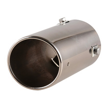 Stainless Steel Car Exhaust Pipe Rear Round Exhaust Tip Tail Muffler Silver Car Accessories