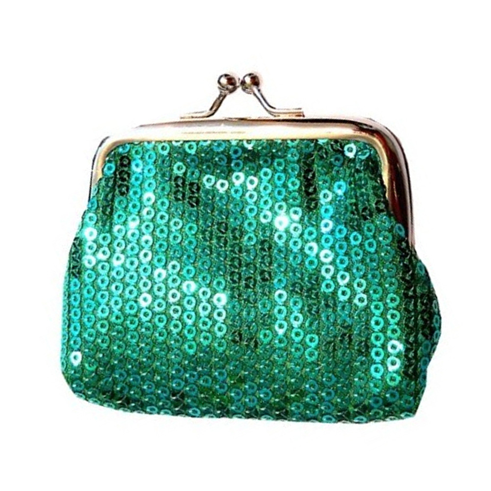 TEXU 5 X Hot Lady Clutch Sequined Hasp coins bag Green