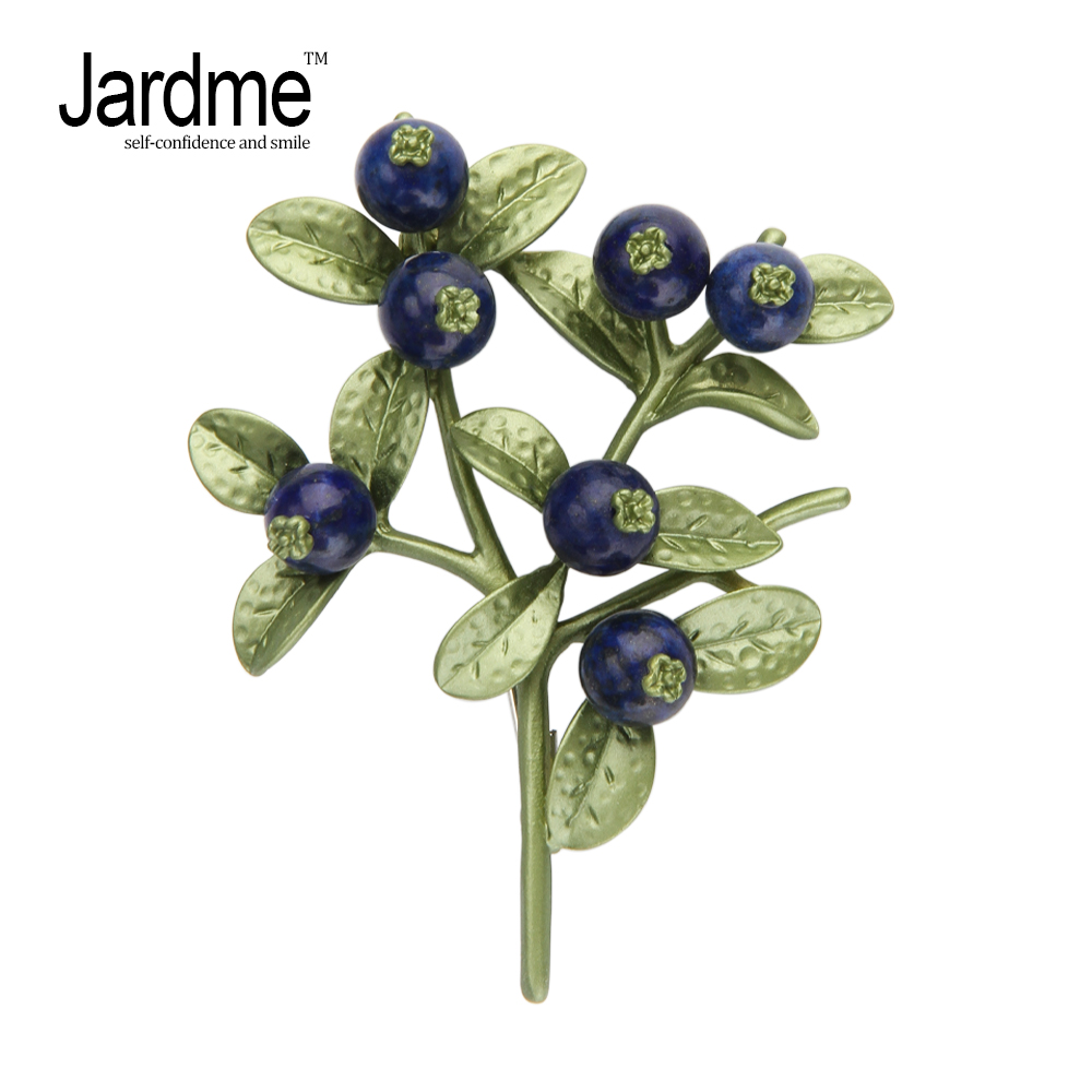Jardme Blueberry Branches Plant Brooch Lifelike Vintage Banquet Scarf Gift Women's wedding 2 Sets Accessories solar car charger powered rechargeable 1 8 lcm bluetooth caller id handsfree set