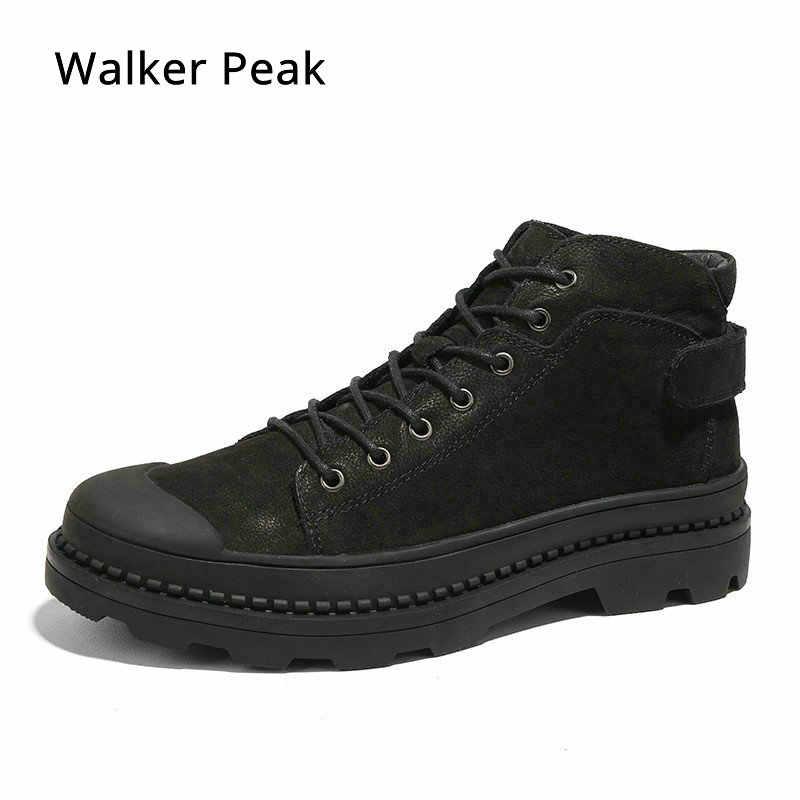 359fde2f60ba Из натуральной кожи Мужские ботинки модные дизайнерские Обувь на теплом меху  внутри Брендовые ботильоны обувь Для