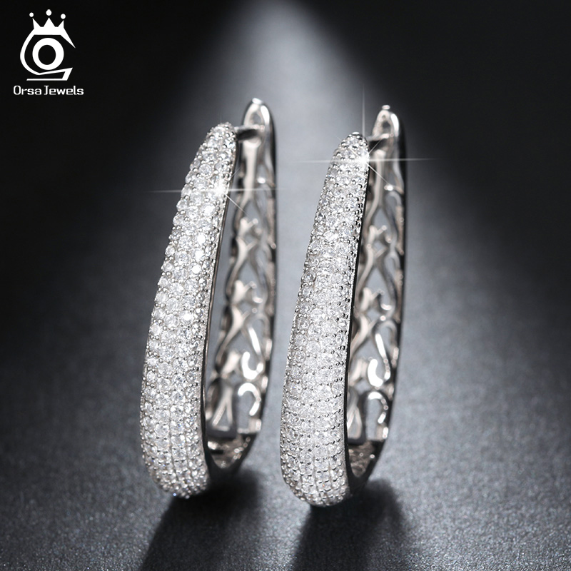 ORSA JEWELS Luxury Silver Color Hoop Earrings Paved with AAA Austrian Cubic Zirconia for Women Fashion Jewelry New Style OE139 цены онлайн