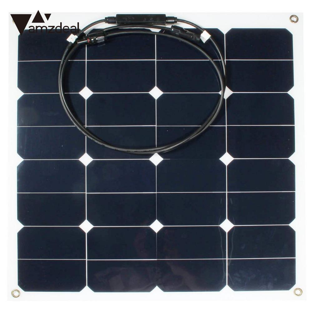 amzdeal Efficiency 12v 50w Sunpower Soft Semi Flexible Solar Panel Monocrystalline Silicone Tool 100w 18v mono semi flexible solar panel with front junction box 22% high efficiency sunpower solar cell pv moudle for 12v system