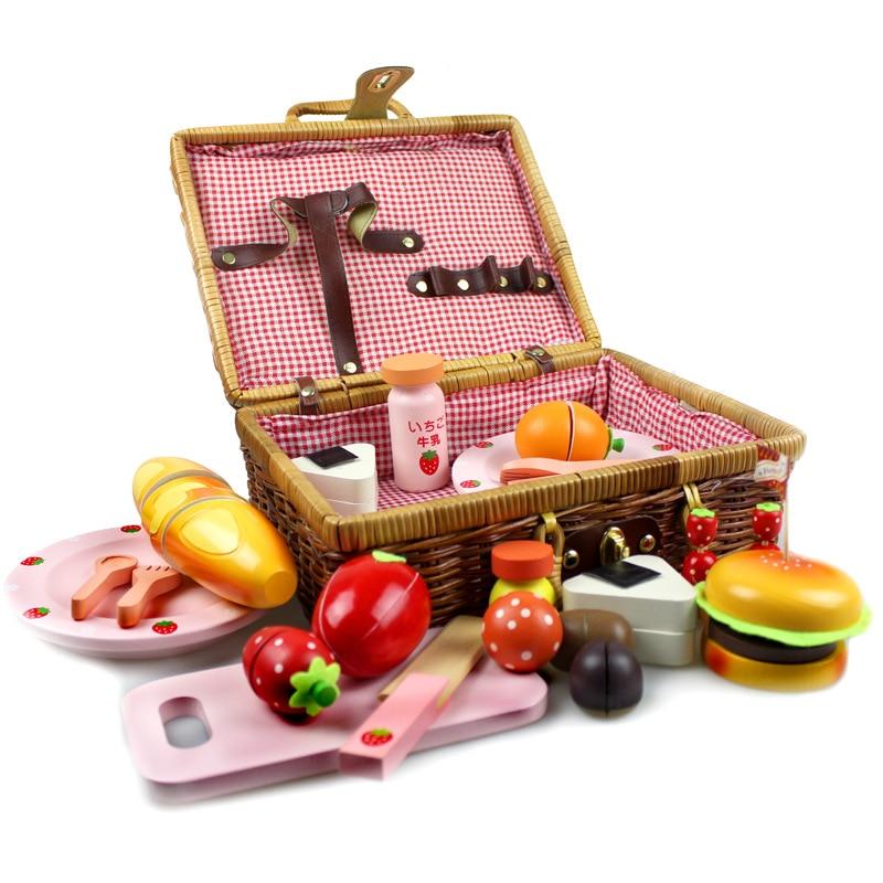 Toy Picnic Basket : Strawberry rattan basket picnic toys set wood