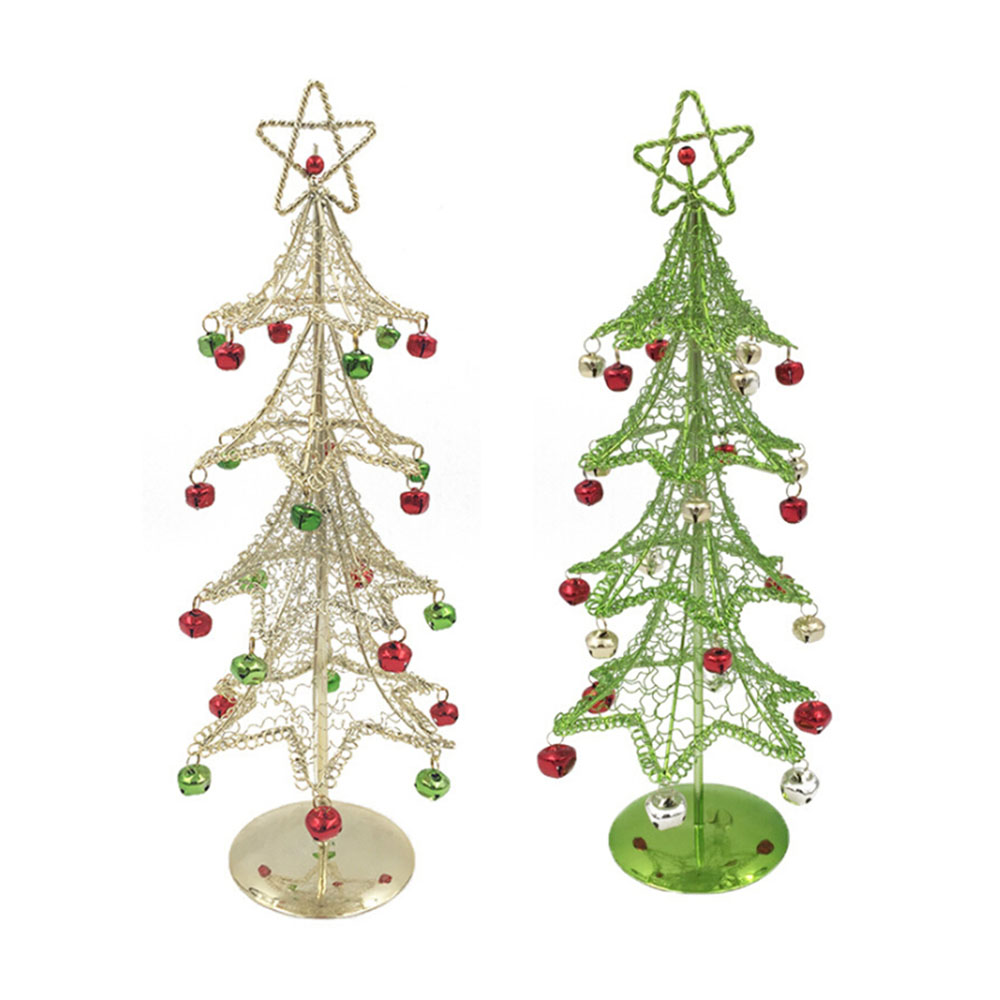 Christmas Decorative Wrought Iron Christmas Tree 15*15*40cm Mini Xmas Tree For Home Desktop Table Decoration