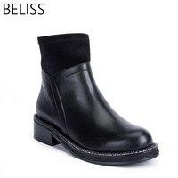 BELISS 2018 35 41 высокого качества ботильоны для женщин натуральная кожа с круглым носком женская обувь эластичная ткань весна осень B5
