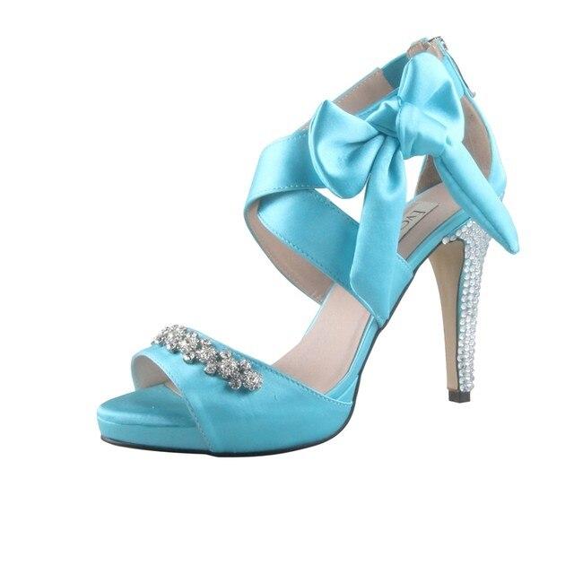 Online Shop CHS674 Aqua Blue Bowtie Rhinestone Bridal Wedding Shoes ...