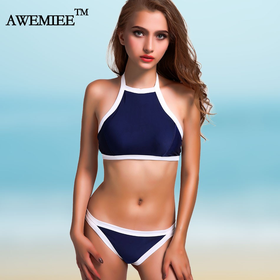 Brazilian Bikini set Sexy High Neck Bandage Swimsuit Padded Push up Swimwear Women Bathing Suit Maillot De Bain Femme Biquinis 6