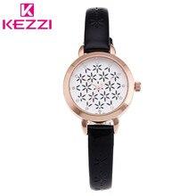 KW-950 KEZZI Marca de Moda Flor del Hueco de Cuarzo Del Dial Del Reloj de Cuero Delgado Mujeres de La Correa de Reloj de Pulsera Relogio Feminino Regalo KZ33