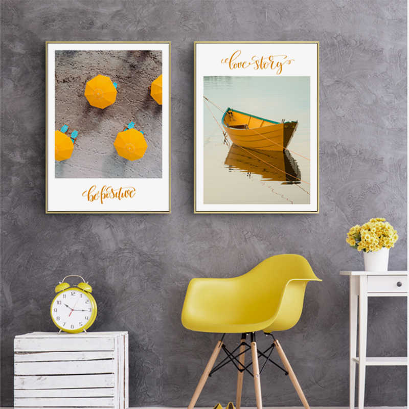 الأصفر قارب مظلة الرسم على لوحات القماش الجدارية معبد مدينة المشهد الملصقات والمطبوعات جدار صور لغرفة المعيشة ديكور المنزل