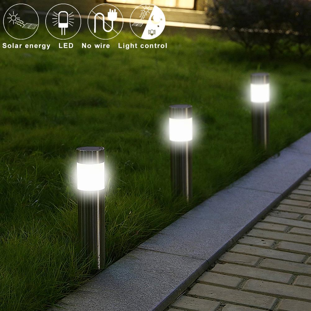 Stainless Steel Led Solar Lawn Lamp Outdoor Garden Path Lawn Light Solar Bollard Light Led Solar Stick Lights White Light marking tools