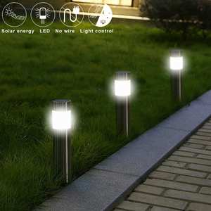Bollard-Light Lawn-Lamp Path Stainless-Steel Solar Outdoor Garden Led