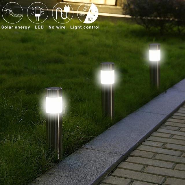Stainless Steel Led Solar Lawn Lamp Outdoor Garden Path Light Bollard Stick Lights White