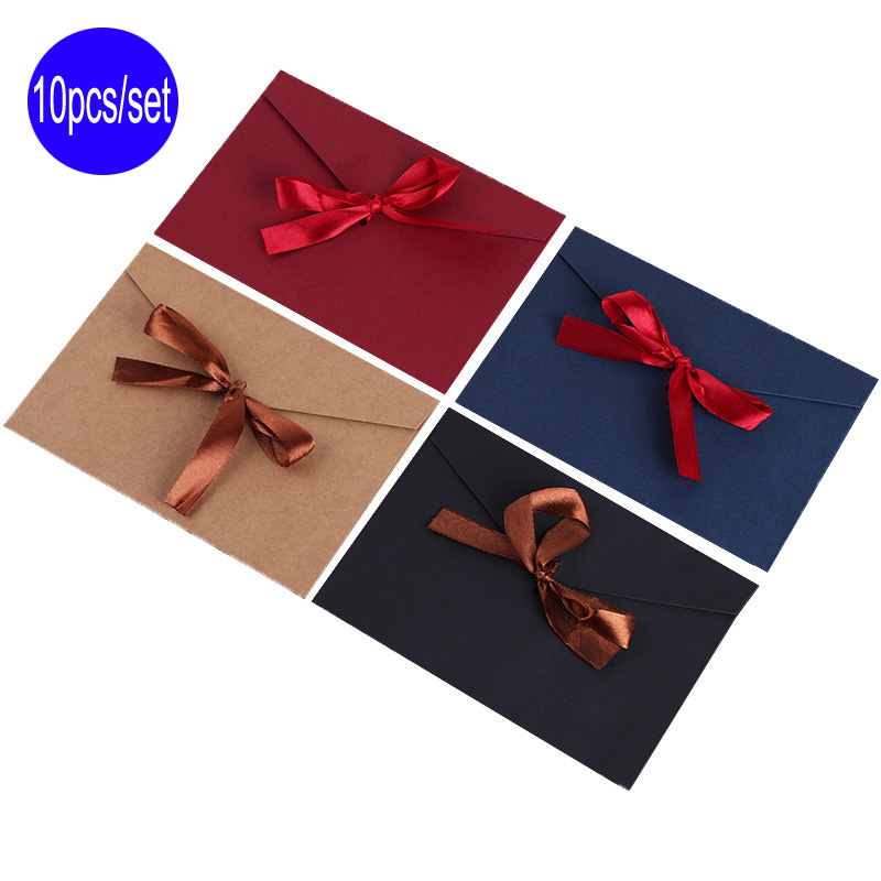Lzn 10pcs/Set Black Red Blue Craft Paper Envelopes Vintage Retro Style Envelope For Office School Card Scrapbooking Gift