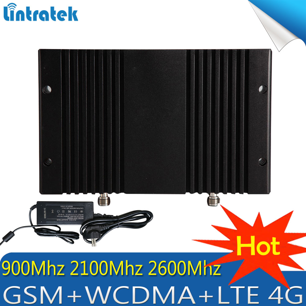 Lintratek 2G 3G 4G GSM 900 WCDMA 2100 FDD LTE 2600 Cell Phone Signal Booster GSM 3G 4G LTE 2600 Repeater Cell Phone 2600 Booster