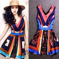 Vestidos 2016 Summer New Star With Geometric Pattern Stitching Fashion V Neck Leopard Print Silk Dress