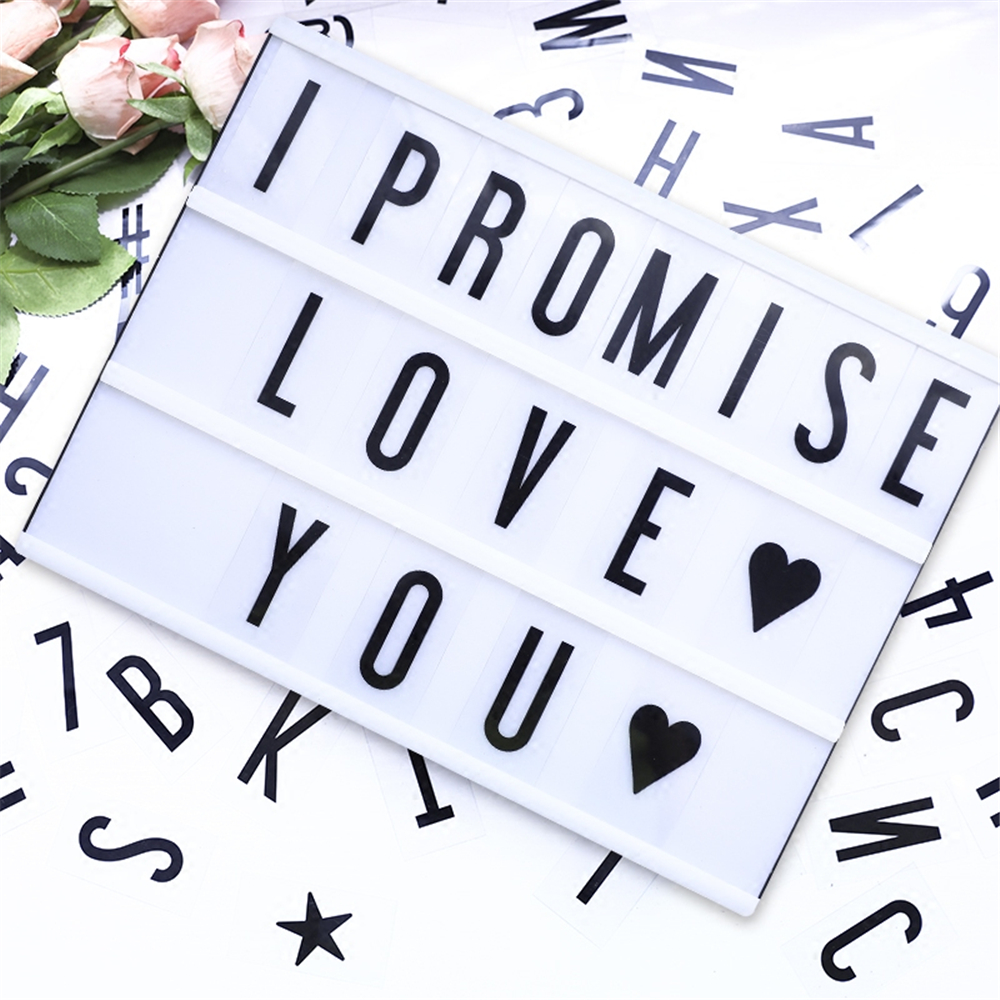 Ins Party DIY Decor Cinemaic Light Box A4 Letter Box Message Board with 72pcs Letters Cards Wedding Birthday Party Supplies ...