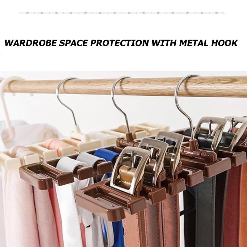 plastic tie belt scarf rack organizer closet wardrobe space saver belt hanger with metal hook tie belt holder storage rack