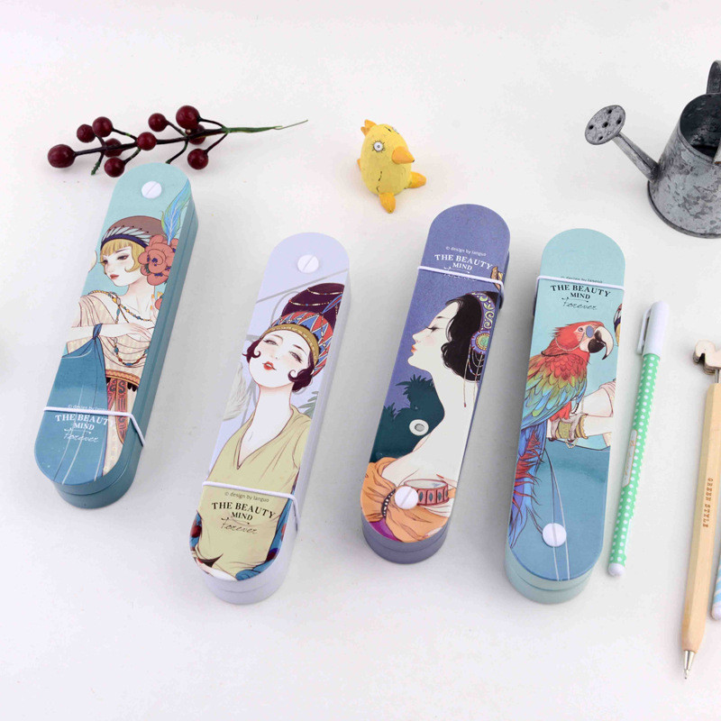 Languo The Beauty Mind Forever Pencil Cases Rotato Students Iron Pencil Box Pen Collection Holder High Quality Stationery Gifts