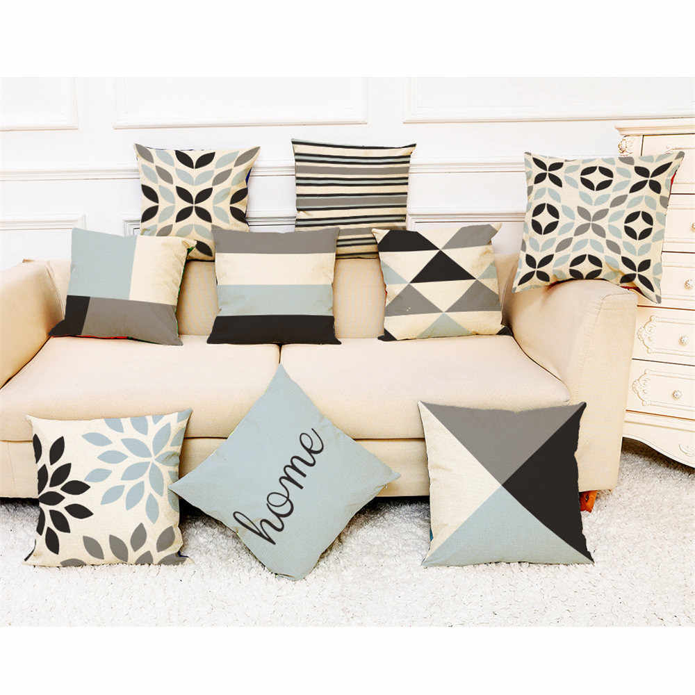 Ouneed 2018 New 45*45cm Pillow Case Linen Blend Home  Simple Geometric Throw Pillowcase Pillow Covers