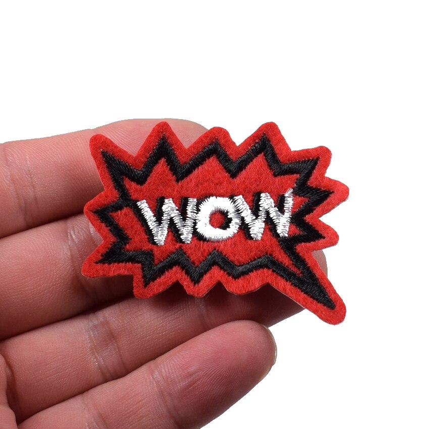 WOW! superhero comics retro fun embroidered applique iron-on wow word patch new