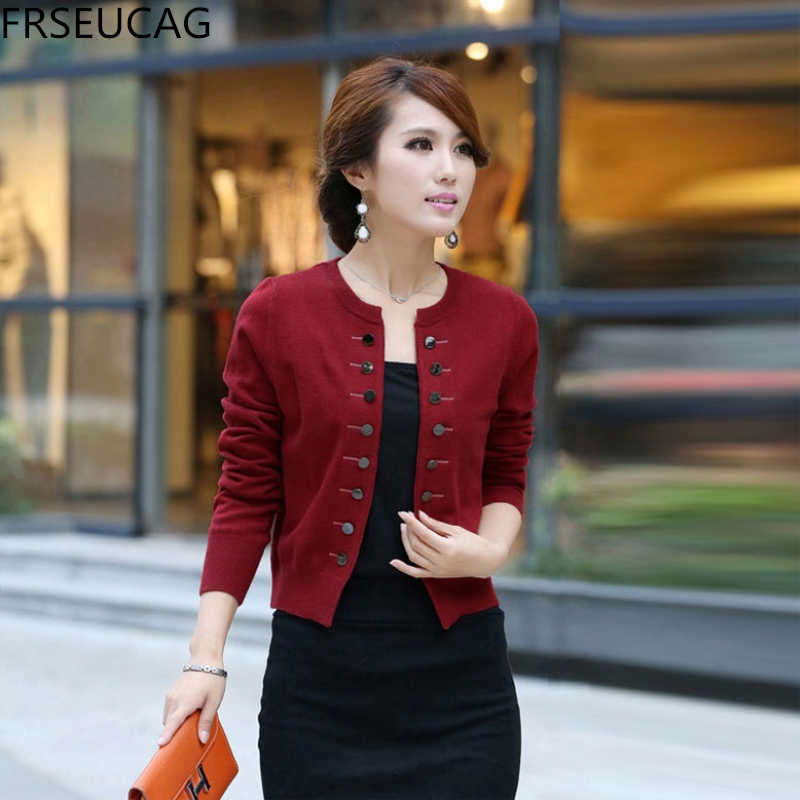 FRSEUCAG 2020 New Double-breasted Cashmere Sweater Solid Color Knitted Small Jacket Round Neck  Cardigan Short Section