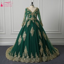 V Neck Long Sleeve Green Wedding Dress with Gold Lace Applique Lace Up On Back A Line Chapel Train Muslim Wedding Bridal Gowns