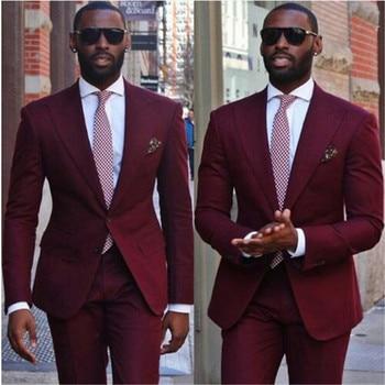 Costume Homme Wine Red 2Pieces Terno Groom Tuxedos Groomsmen Mens Wedding Suits Slim Fit Fashion Blazer( Jacket+Pants+Tie)