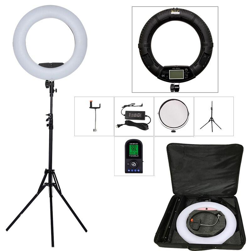 Yidoblo черный fe-480ii 5600 К затемнения Камера кольцо света 480 Светодиодные лампы видео ЖК-дисплей RC Фотовспышки + 2 м подставка + сумочка