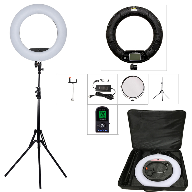 Yidoblo Black FE-480II 5600K Dimmable Camera Ring Light 480 LED Video Light Lamp LCD RC Photographic Lighting +2M stand+ handbag