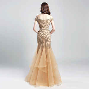 Image 2 - Romantic Beading Long Mermaid Evening Dresses 2019 New Arrival Tulle Ruched Off the Shoulder Formal Prom Party Real Gowns OL494