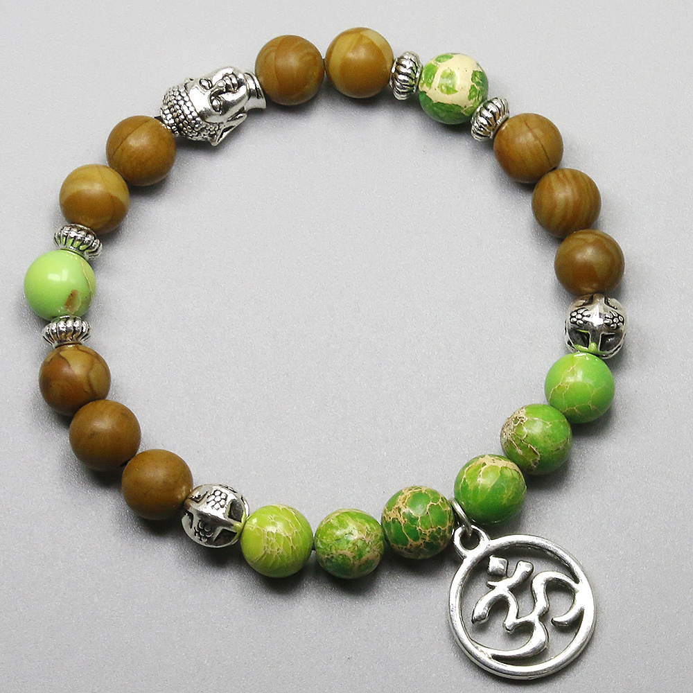 Wood and Imperial Stone Om Bracelet