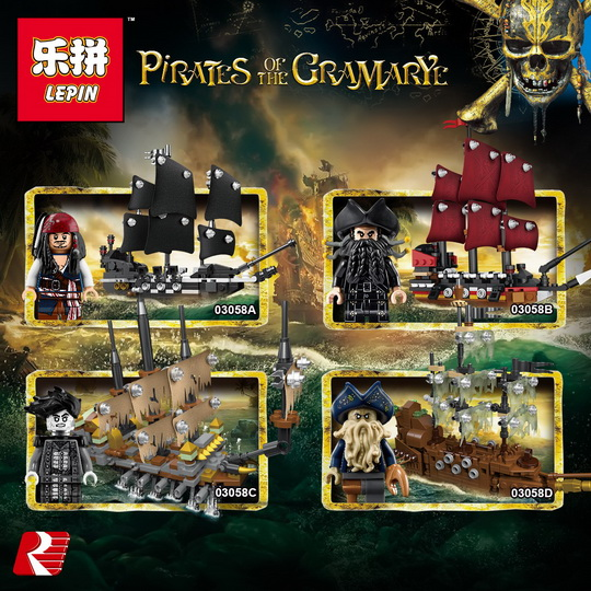 Lepin 03058 Genuine 1117 Pcs Movie Series The 4 In 1 Black Pearl Queen Anne's Reveage Slient Mary Ship Set Building Blocks Brick moc lepin 16009 1151pcs pirates ship queen anne s reveage ship model building kits set blocks brick toys gift 4195