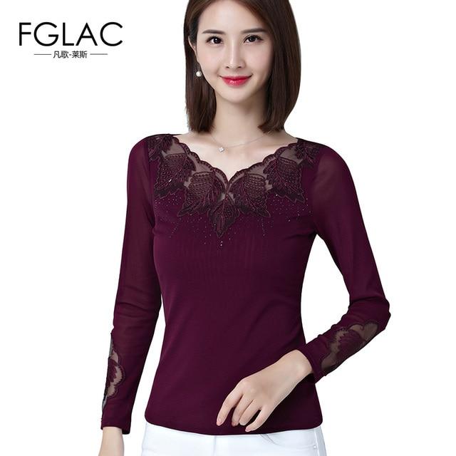 fe569d76418 FGLAC Women blouses shirt Fashion Casual long sleeved Diamonds Mesh tops  Elegant Slim Embroidery Lace tops plus size blusas