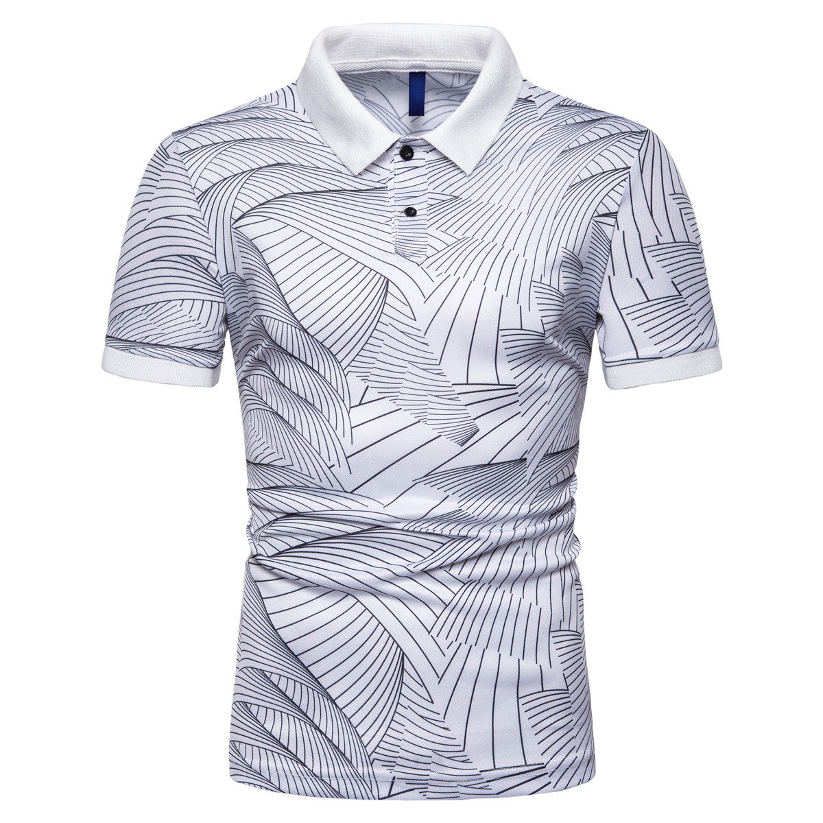 Miicoopie Mens Short Sleeve   Polo   Shirts Fashion Irregular Lines Print Casual Brand   Polo   Shirts