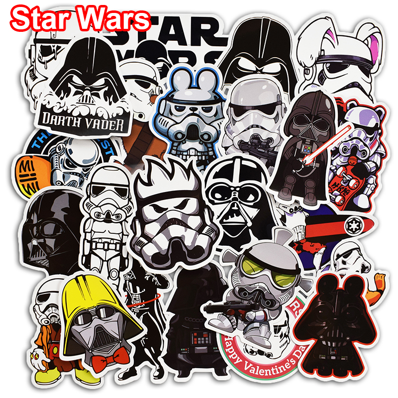 50 Pcs Star Wars Cool Stickers for Skateboard Laptop Bicycle Car Styling Luggage Fridge Vinyl Decal PVC DIY Waterproof Sticker 14cm 9cm fashion x wing star wars funny vinyl car styling decal car stickers black silver s6 3687