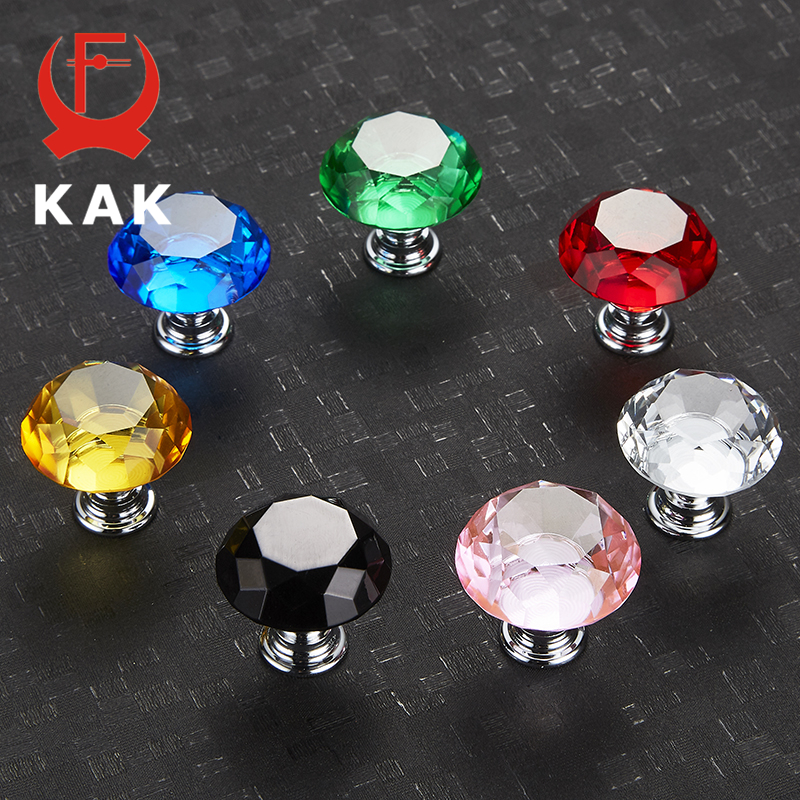 KAK 30mm 5pcs Diamond Shape Crystal Glass Knobs Cupboard Pulls Drawer Knobs Kitchen Cabinet Handles Furniture Handle Hardware