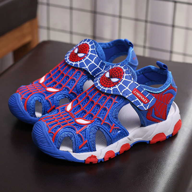 Rubber Closed Toe Sandals for Boys Children Summer Sandals Boys Fashion Kids Casual Sports Sandals Cartoon Spiderman Shoes
