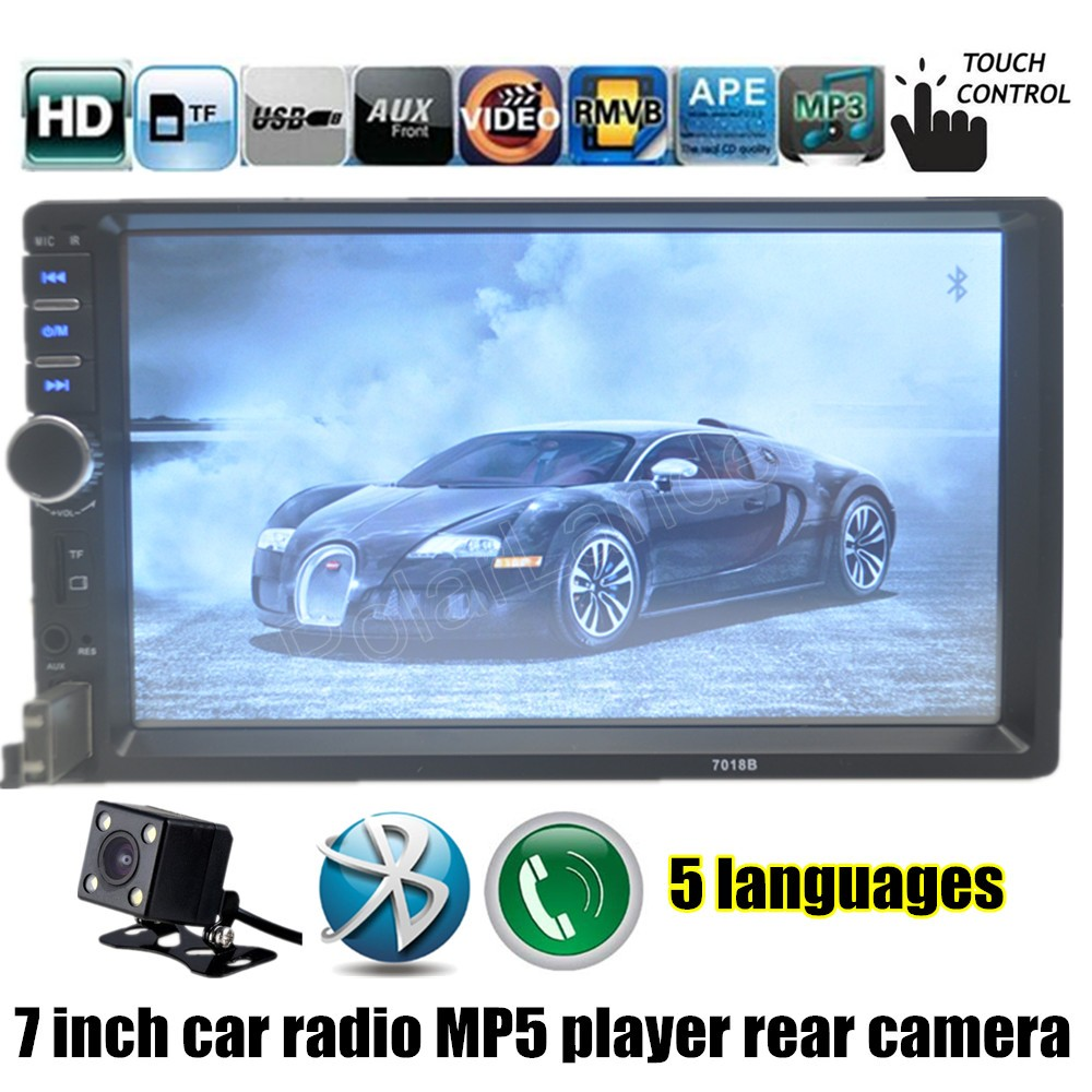 High Quality With Rear View Camera Black 7 Inch 2 Din Car 3v 3w Amber Power Led 55lm Rapid Online Player Hd Bluetooth Radio Mp4 Usb Fm Tf Touch Screen