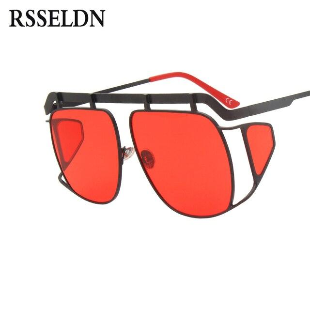 8e5199efc2 RSSELDN Oversized Sunglasses Women Square Metal Big Frame Side Shields Sun  glasses Male Female Vintage Shades
