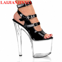 LAIJIANJINXIA 8 Inch Heel Clear High Platform Shoe Ankle Strap 20cm Stripper Shoes Open Toe Black crystal shoes women's sandals