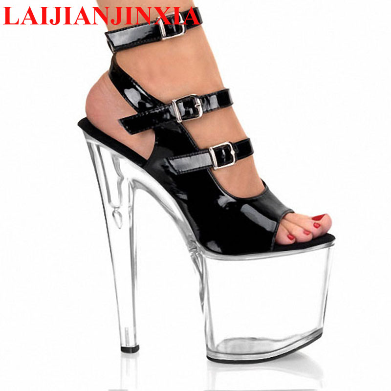 b163d45cb41 US $56.94 27% OFF|LAIJIANJINXIA 8 Inch Heel Clear High Platform Shoes Ankle  Strap 20cm Stripper Shoes Open Toe Black crystal shoes women's sandals-in  ...