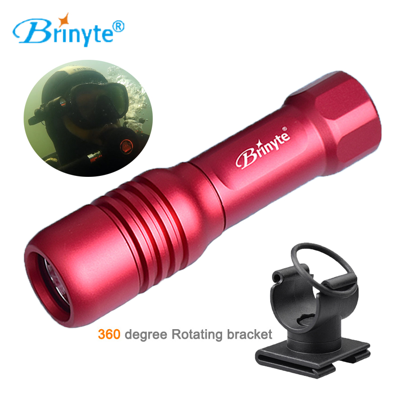 Brinyte DIV18 Waterproof Mini Scuba Diving Flashlight Diving Lantern Lamp Torch for Diving Mask with 360 Degree Rotating Bracket scubapro crystal vu mask for scuba snorkelling diving water sports