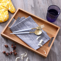 Bamboo Storage Tray with Handle Household Rectangle Cup Simple Japan Style Tea Set Home Hotel Side Dishes Bamboo Serving Plate