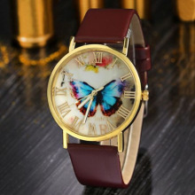 3 Color Fashion Butterfly Leather Band Clock Analog Quartz Watch Wrist Watch Women Men все цены